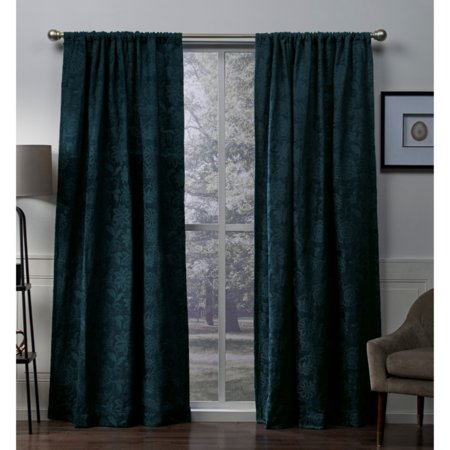 2 Pack Heavyweight Floral Jacquard Rod Pocket Curtain Panels - EK CHIC HOME