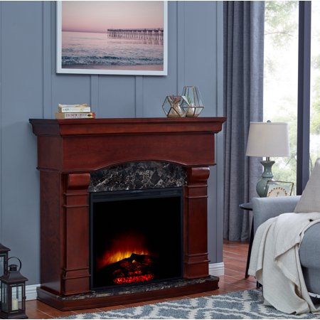 Bold Flame 47 inch Electric Fireplace Heater in Walnut - EK CHIC HOME