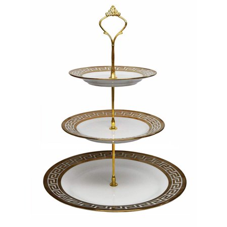 Royalty Porcelain 3-Tier Cake and Cupcake Stand, Greek Key Pattern, 24K Gold - EK CHIC HOME