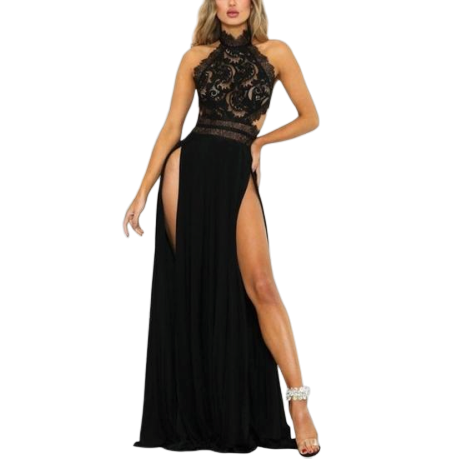 Long Cut Black Dress