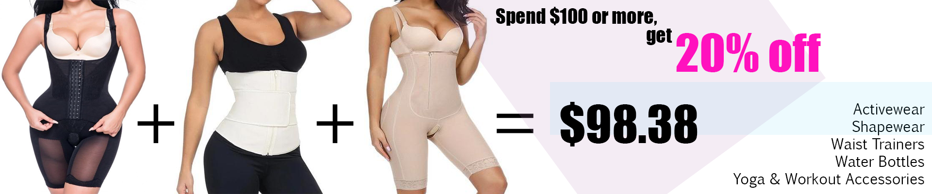 20% off shapewear, waist trainer, yoga and workout accessories