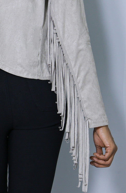 Suede Fringe Cardigan, Tops - Style Dirty
