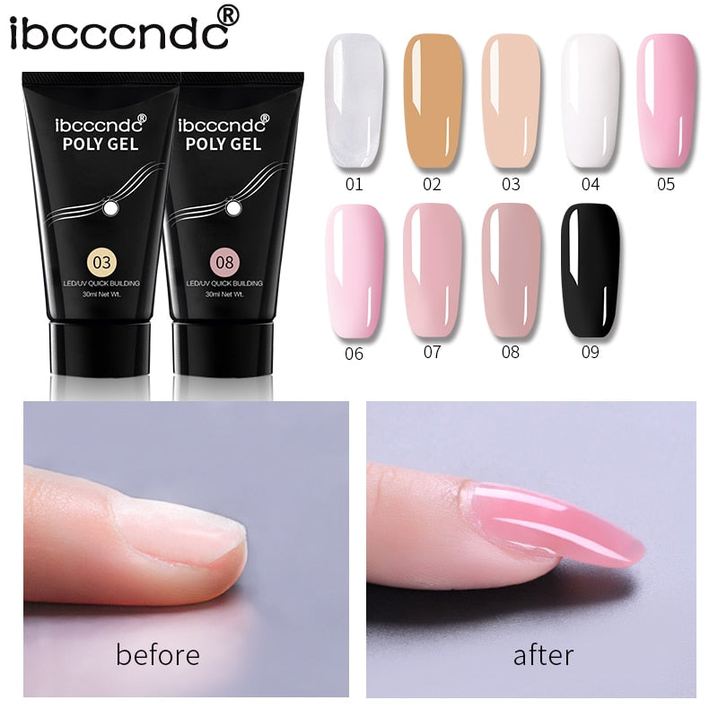 9 Colors 30g Nail Acrylic Hard Poly Gel Pink White Clear Crystal UV LED Builder Gel Tips Enhancement Quick Extension Gel Varnish, beauty - Style Dirty