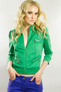 Emerald Zipper Bomber Jacket, Tops - Style Dirty