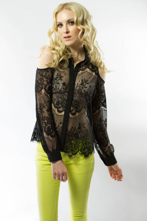 Lace Off The Shoulder Shirt, Tops - Style Dirty