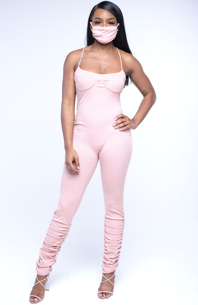 Simple Flex Jumpsuit With Ruching Bottom