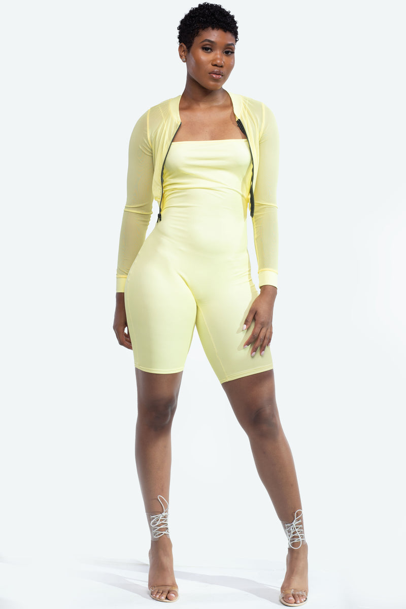 Yellow Mesh Romper With Sheer Jacket
