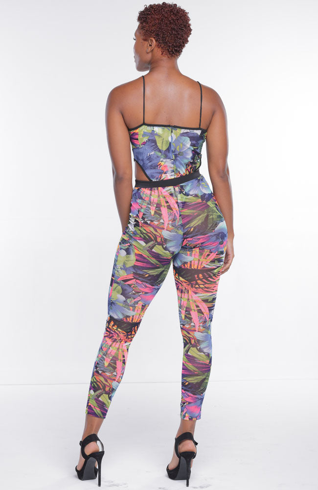 Pink Blue Sheer Tropical Print Two Piece Pants Set