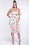 Pineapple Watermelon Surprise Midi Dress