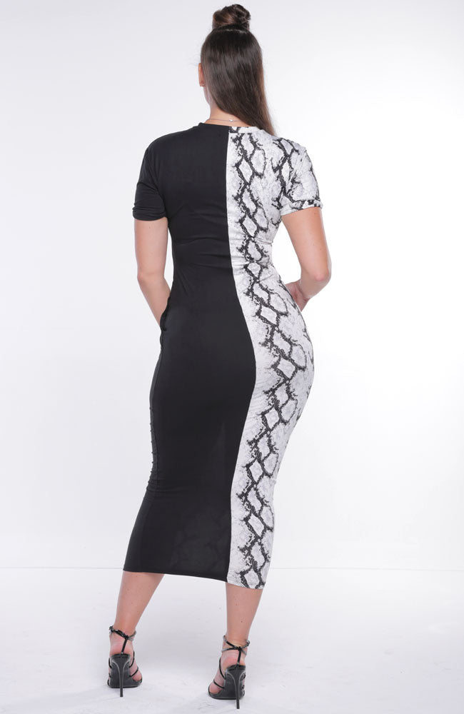 Two Tone Snakeskin Maxi Dress