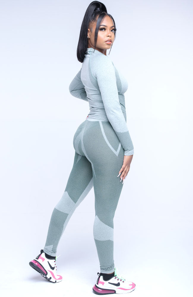 Green Stay Active Two Piece Long Sleeve Pants Set