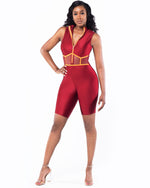 Shine Queen Burgundy Romper With Zipper