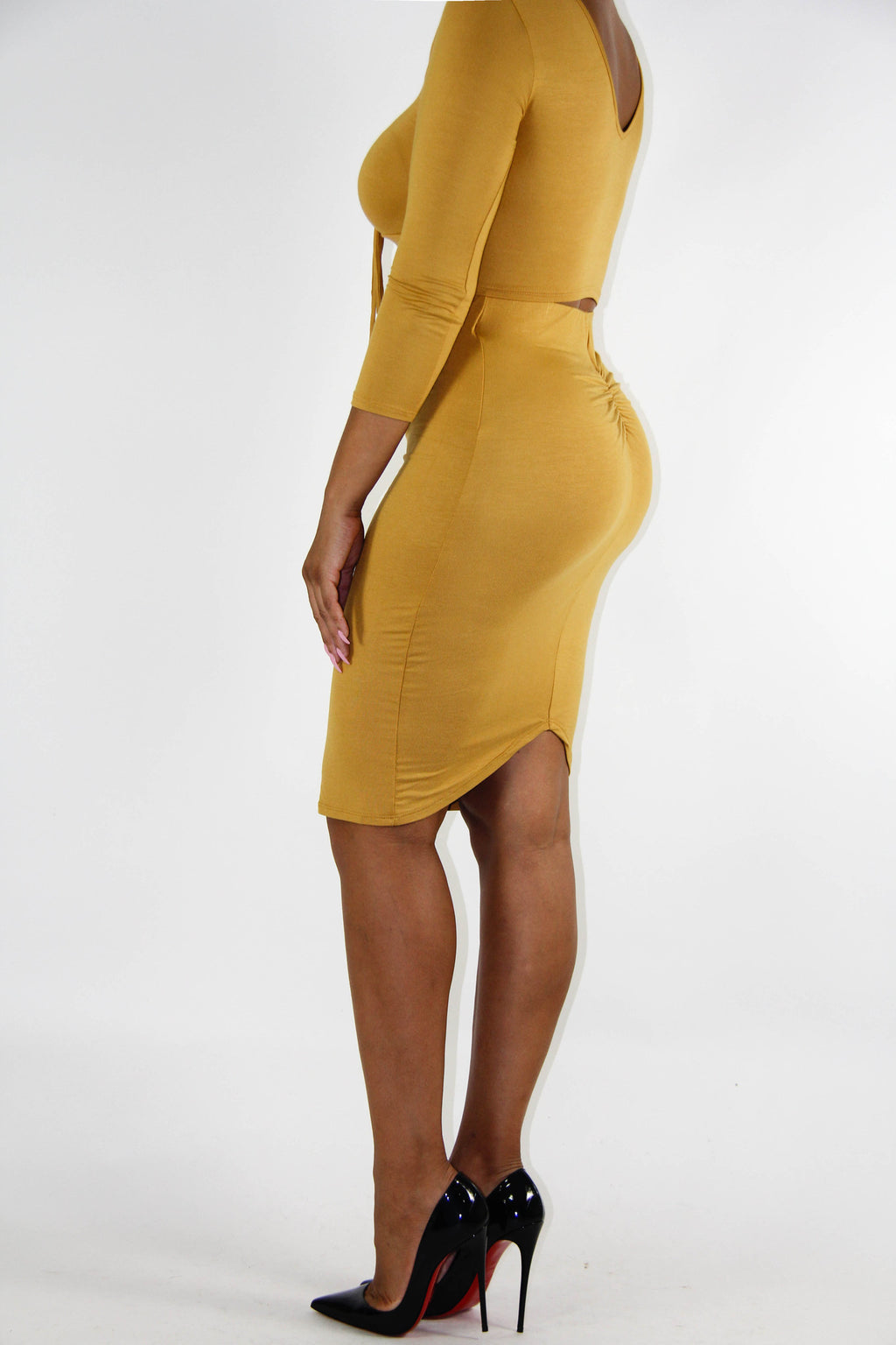 Mustard Holiday Dress Set, Dress - Style Dirty