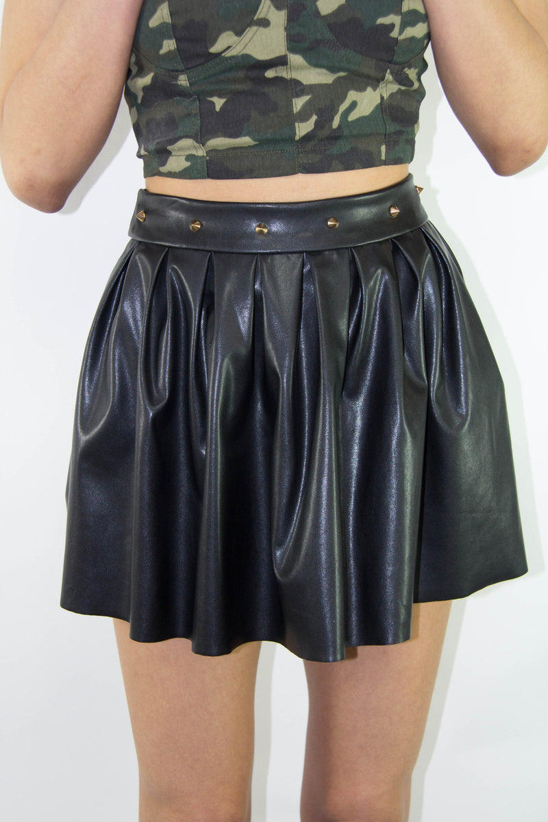 Gold Spiked Skirt, Bottoms - Style Dirty