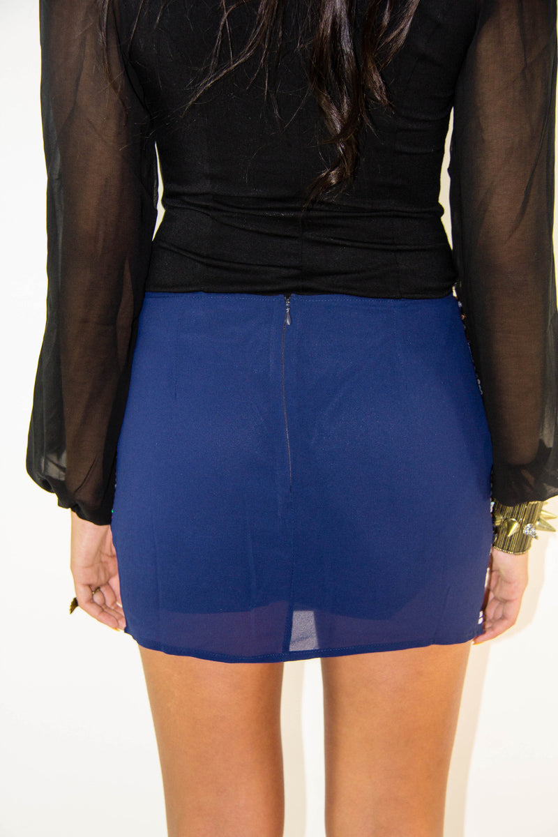 Sequin Blue Skirt, Bottoms - Style Dirty