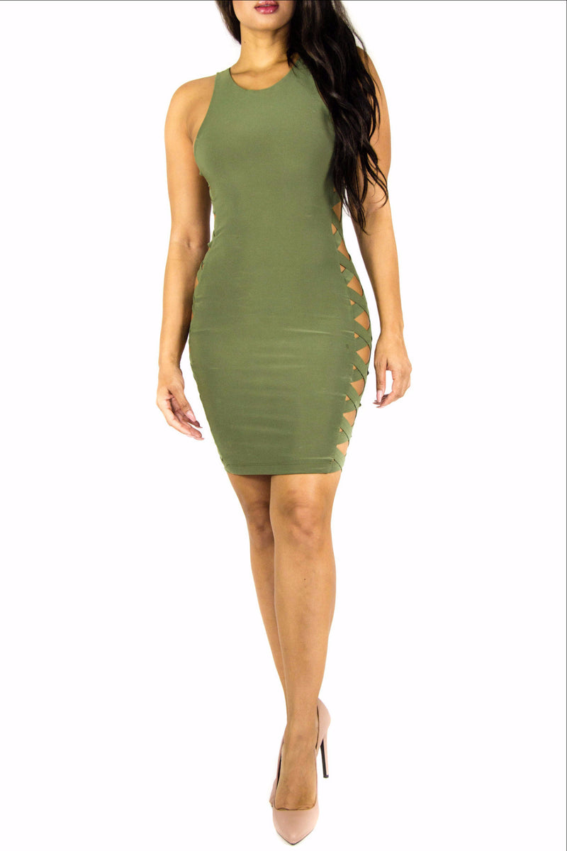 Crossed Olive Dress, Dress - Style Dirty