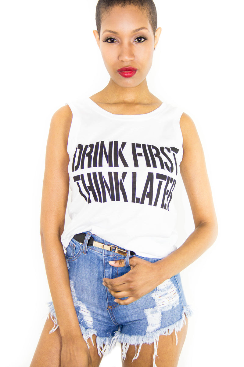 Drink Think Tank Top, Tops - Style Dirty