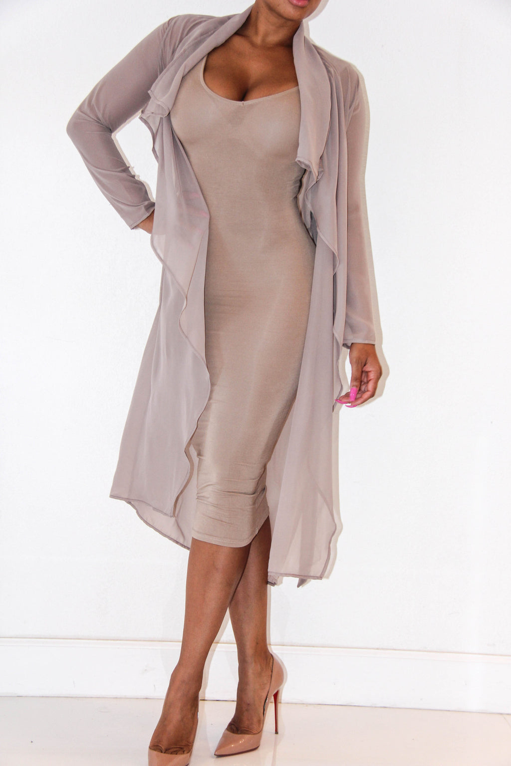 Nearly Nude Trench Coat, Tops - Style Dirty
