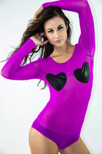 Fuchsia Hearts Bodysuit, Tops - Style Dirty
