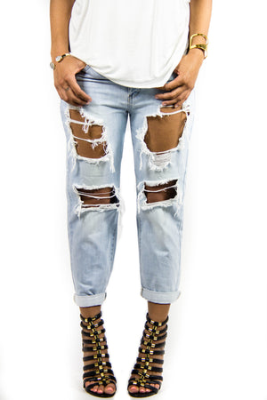Light Blue Frayed Jeans, Bottoms - Style Dirty