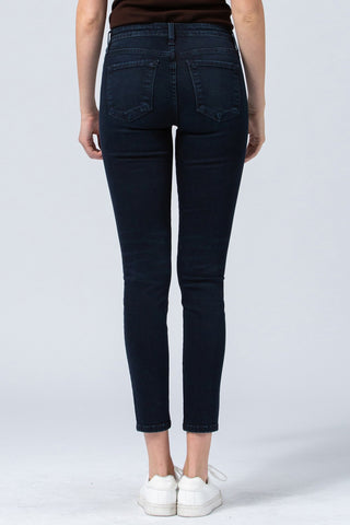 Mid Rise Button Front Skinny