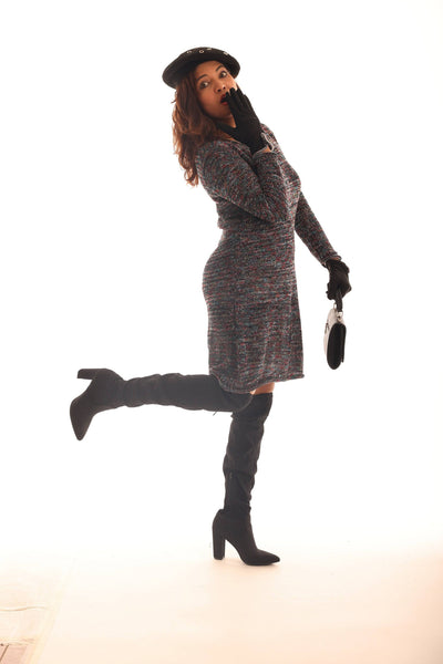 Brown Marled Long-Sleeve Sheath Dress