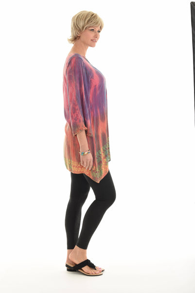 Pink & Purple Abstract Sidetail Tunic