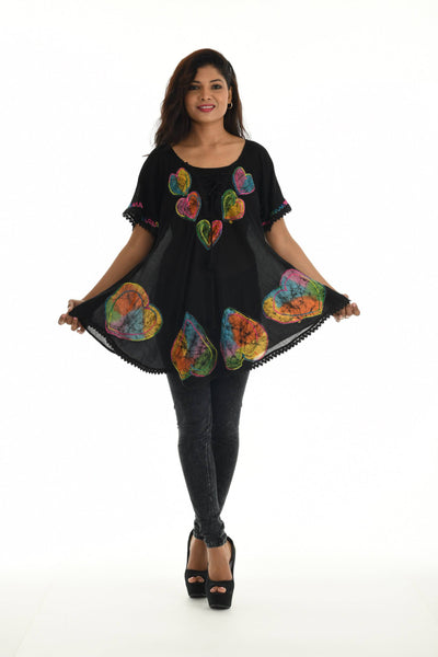 Black Embroidered Hearts Lace-Up Bell-Sleeve Tunic