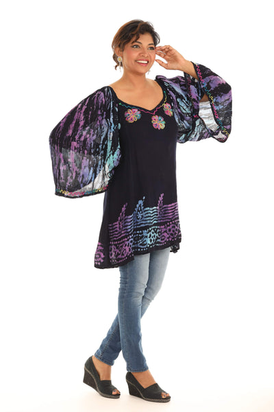 Black & Multi color Contrast-Bell-Sleeve Tunic