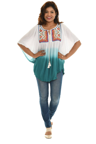 Ombre Embroidered Scoop Top