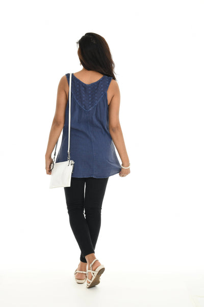 Boho Embroidered V-Neck Sleeveless Tunic