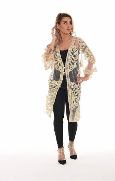 Floral Embroidered Lace Front Open Cover-up