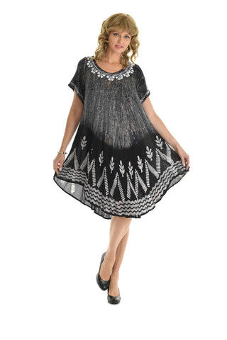 Plus Size Tie Dye and Batik Print Flowing Dress