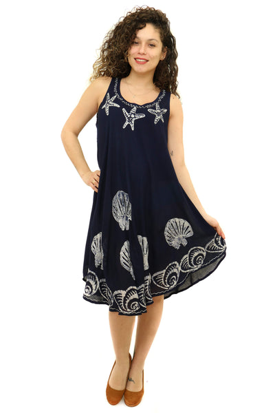 RAYON SEA PRINT RAYON DRESS