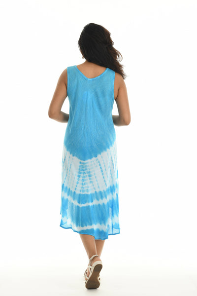 Tie-Dye Embroidered Sleeveless Midi Dress