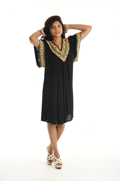 V-Neck Embroidery Dress