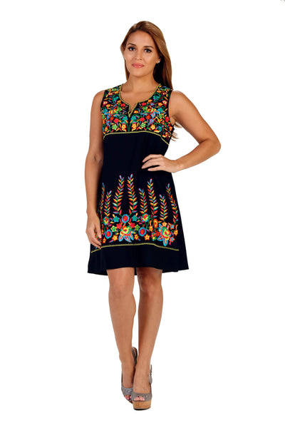 Black Embroidered Sleeveless Dress