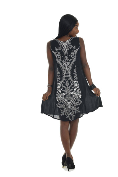 Black Abstract Floral Print Shift Dress