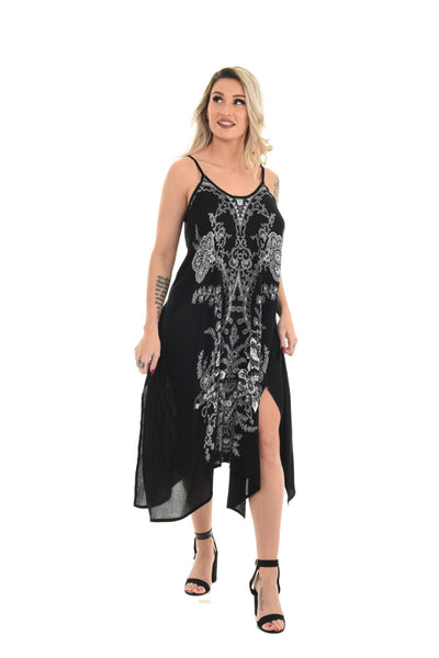 Black Abstract Floral Print Dress