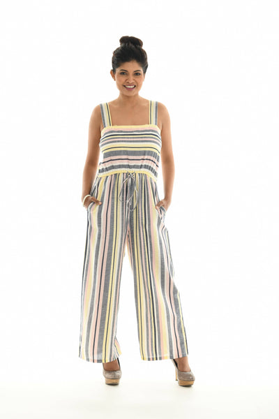 Striped Square Neck Jumpsuit