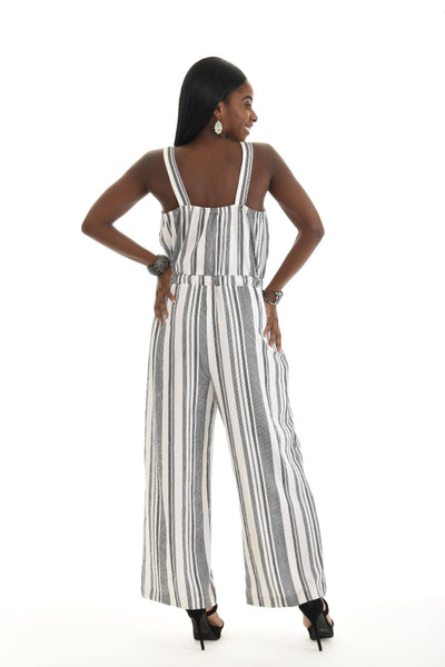 Contrast  Vertical Stripes Wide Leg Jumpsuit