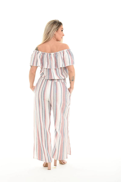 Stripes Off Shoulder Wide Leg Jumpsuit