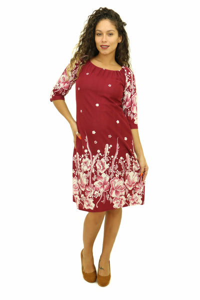 Burgundy Floral Sheath Dress
