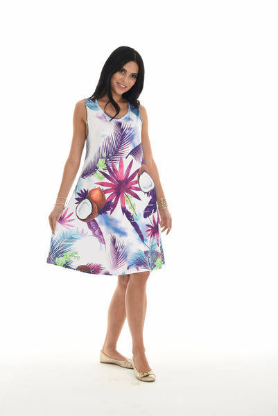 Botonical Coconut Print Sleeveless Swim Cover-Up