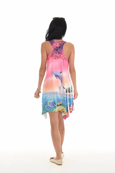 Sleeveless Dolphin Print Short Dress