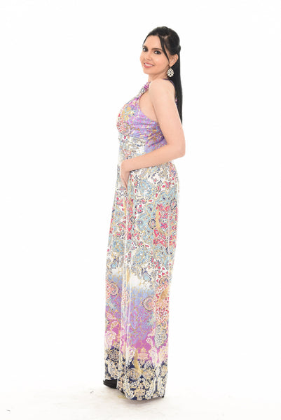 Halter Neck Multi Print Long Dress