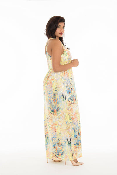 Abstract Print Gold Foil Halter Neck Long Dress
