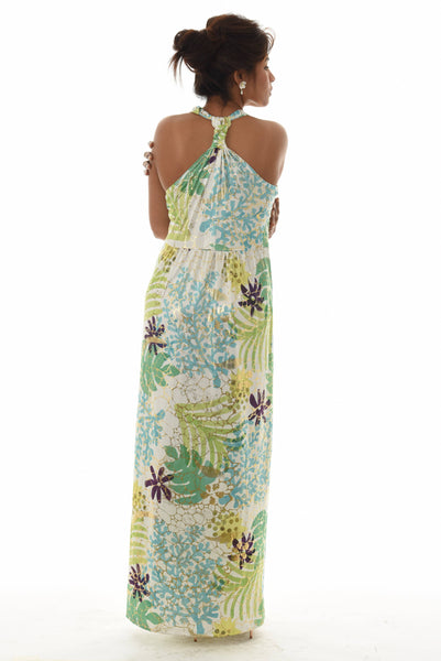 Beach Resort Print Gold Foil Halter Neck Maxi Dress