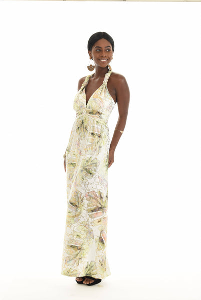 Gold Foil Palm Leaf Halter Neck Maxi Dress
