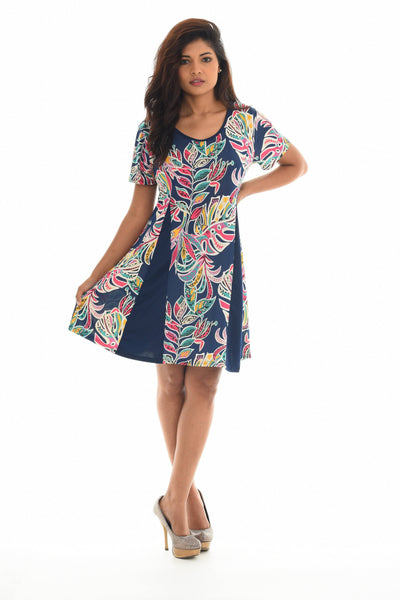 Palm Leaf Print Short Sleeve Dress